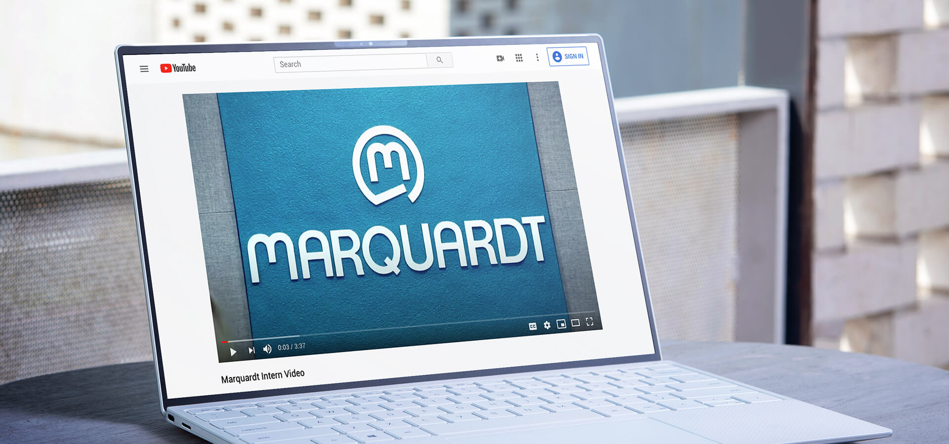 marquardt vieo being played on youtube on a laptop