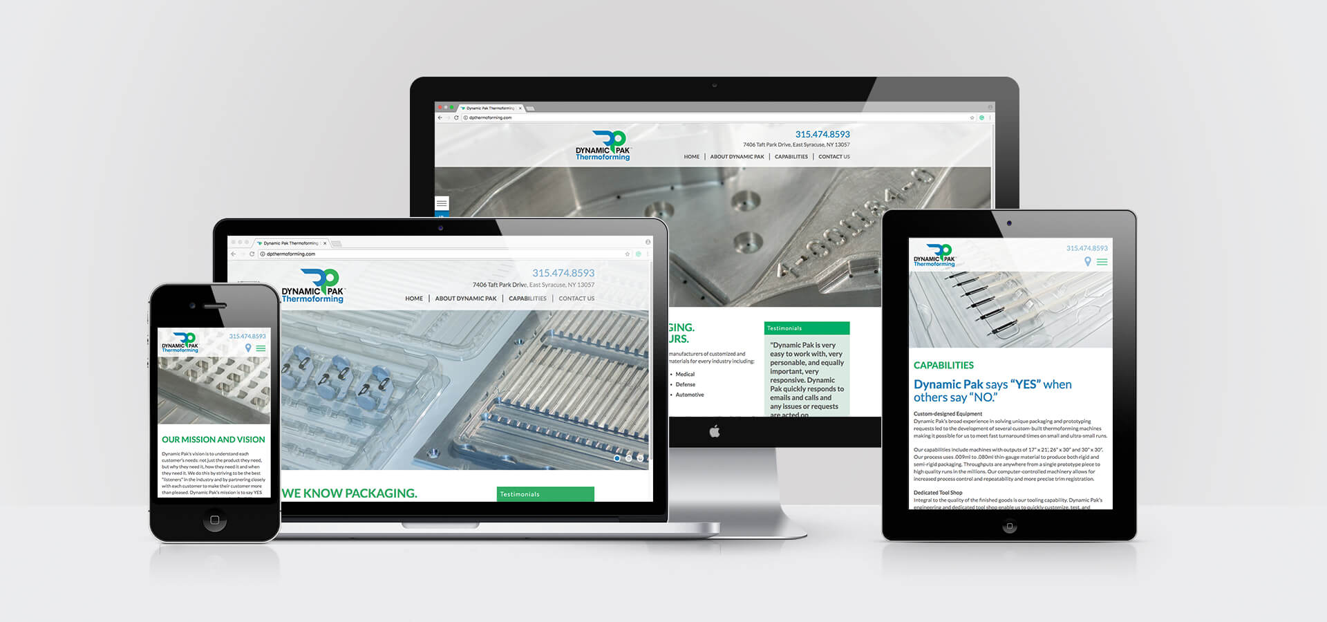 Dynamic Pak Thermoforming Responsive Website on all Screens