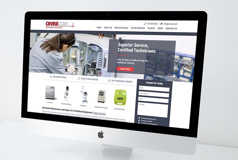 omnicor biomedical services website on a desktop computer
