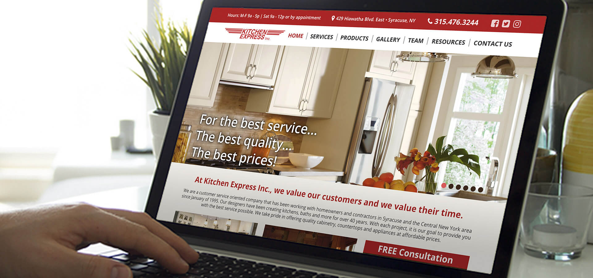 Kitchen Express Inc.'s New Website on Laptop