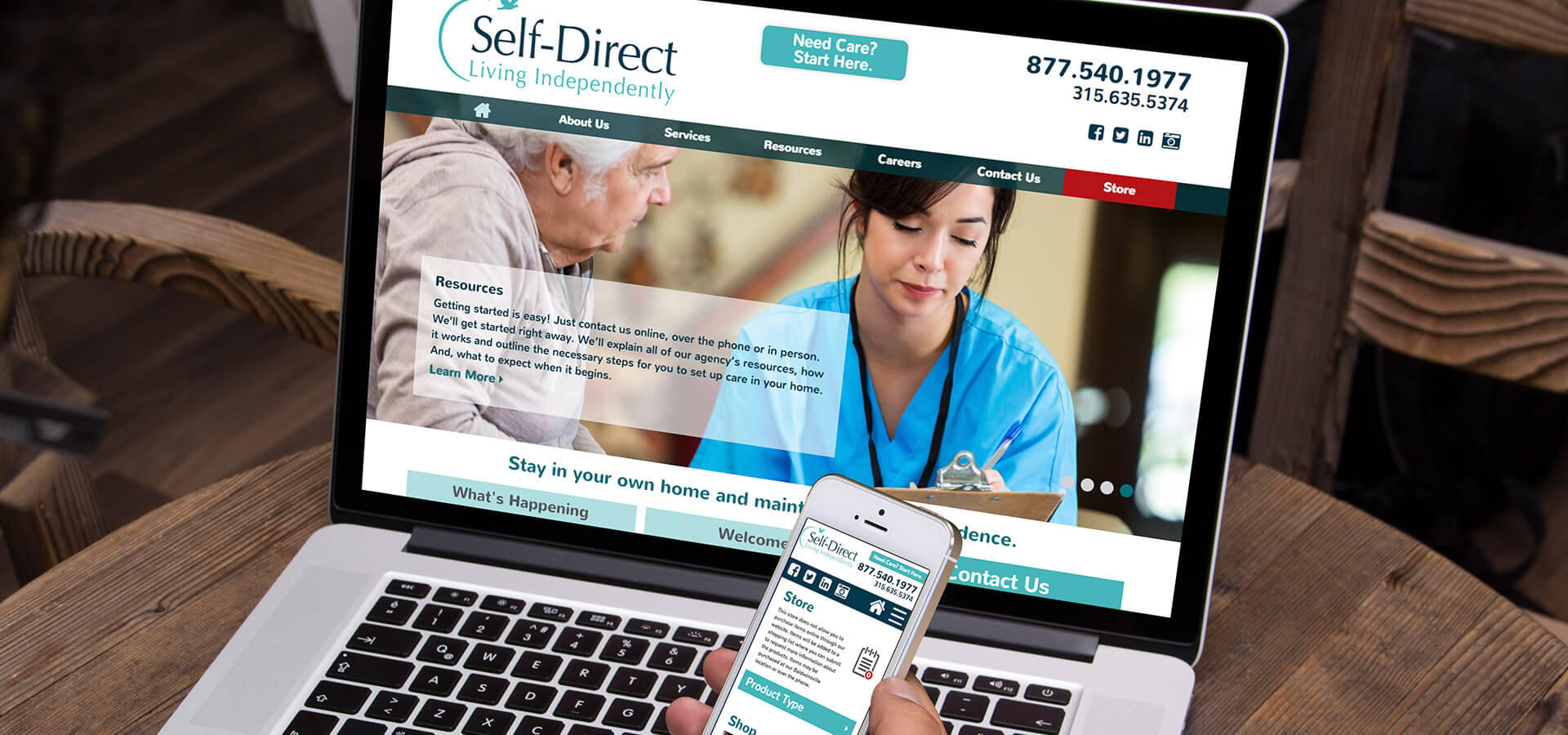 Self Direct, Inc's Website on Laptop and Mobile Phone
