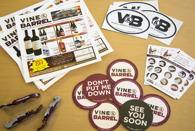 Sales Promotion Items for Vine & Barrel: Coaster, Magnet, Bottle Opener