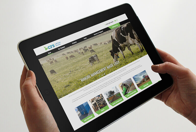 cuff farm services website on an ipad