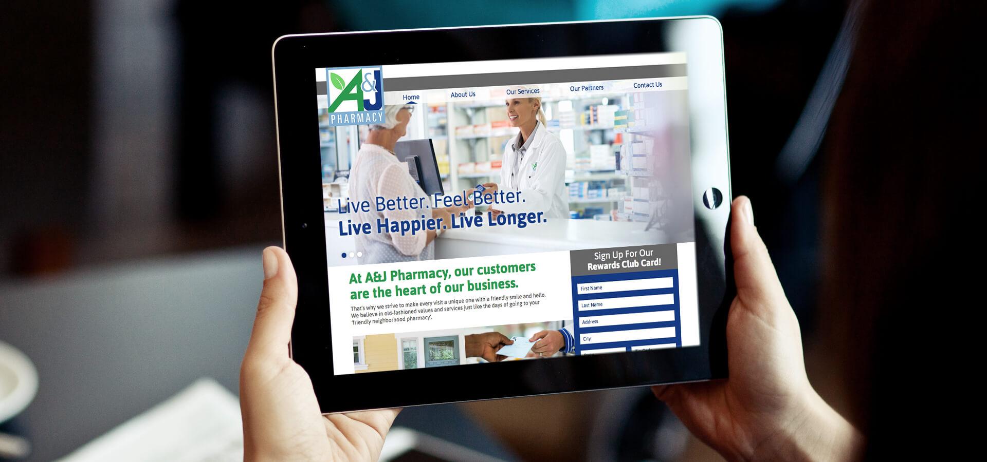 A&J Pharmacy Website on iPad