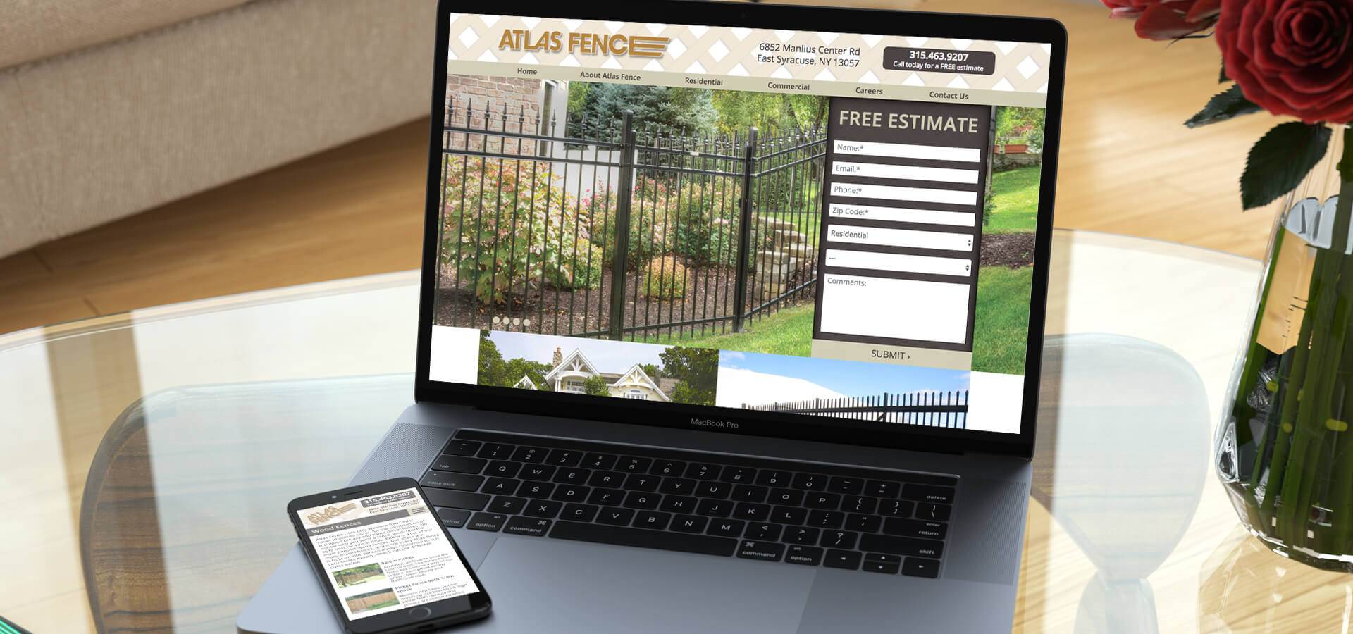 Atlas Fence Responsive Website Laptop and Mobile Phone