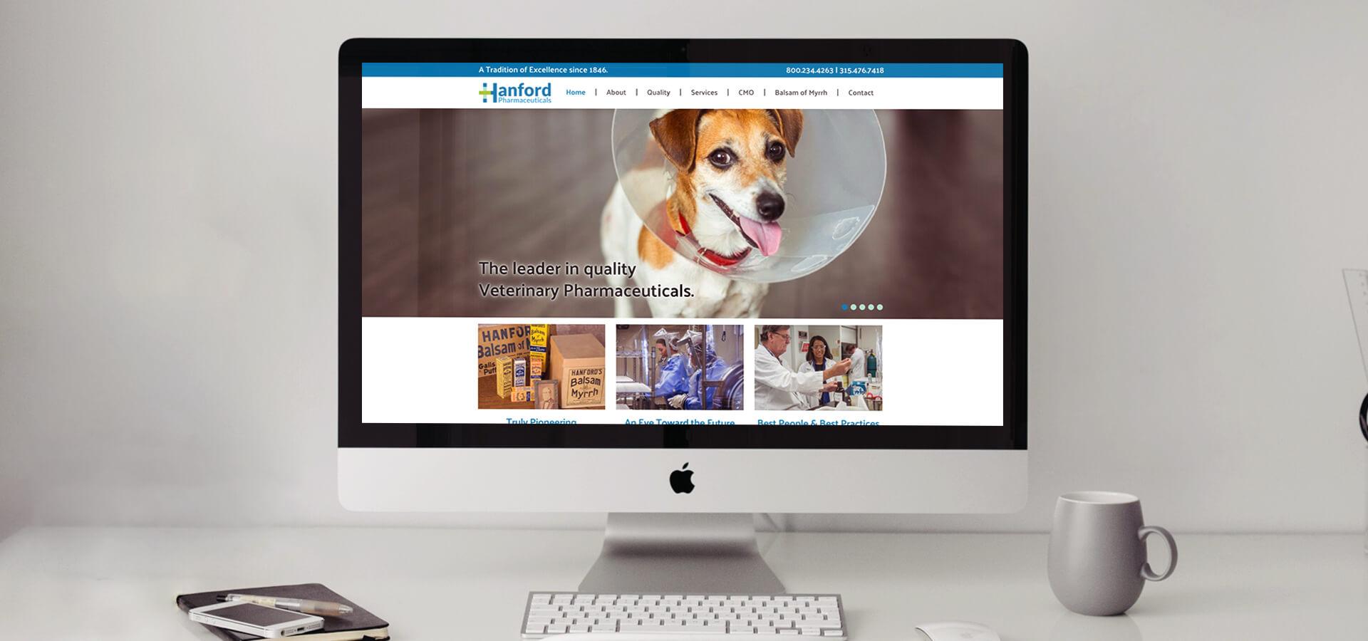 Hanford Pharmaceuticals' Website on Desktop