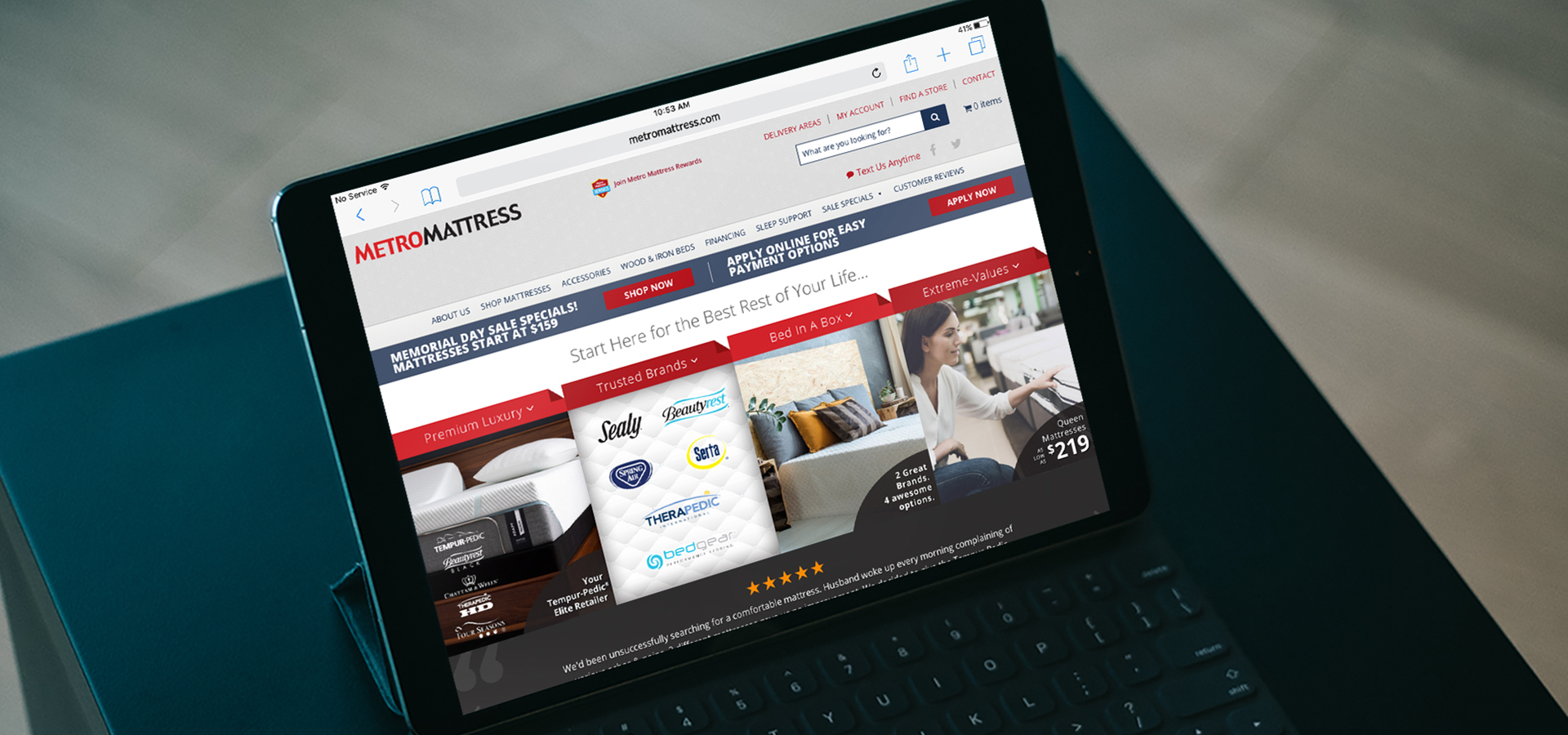 Total Advertising Custom Web Design for Metro Mattress