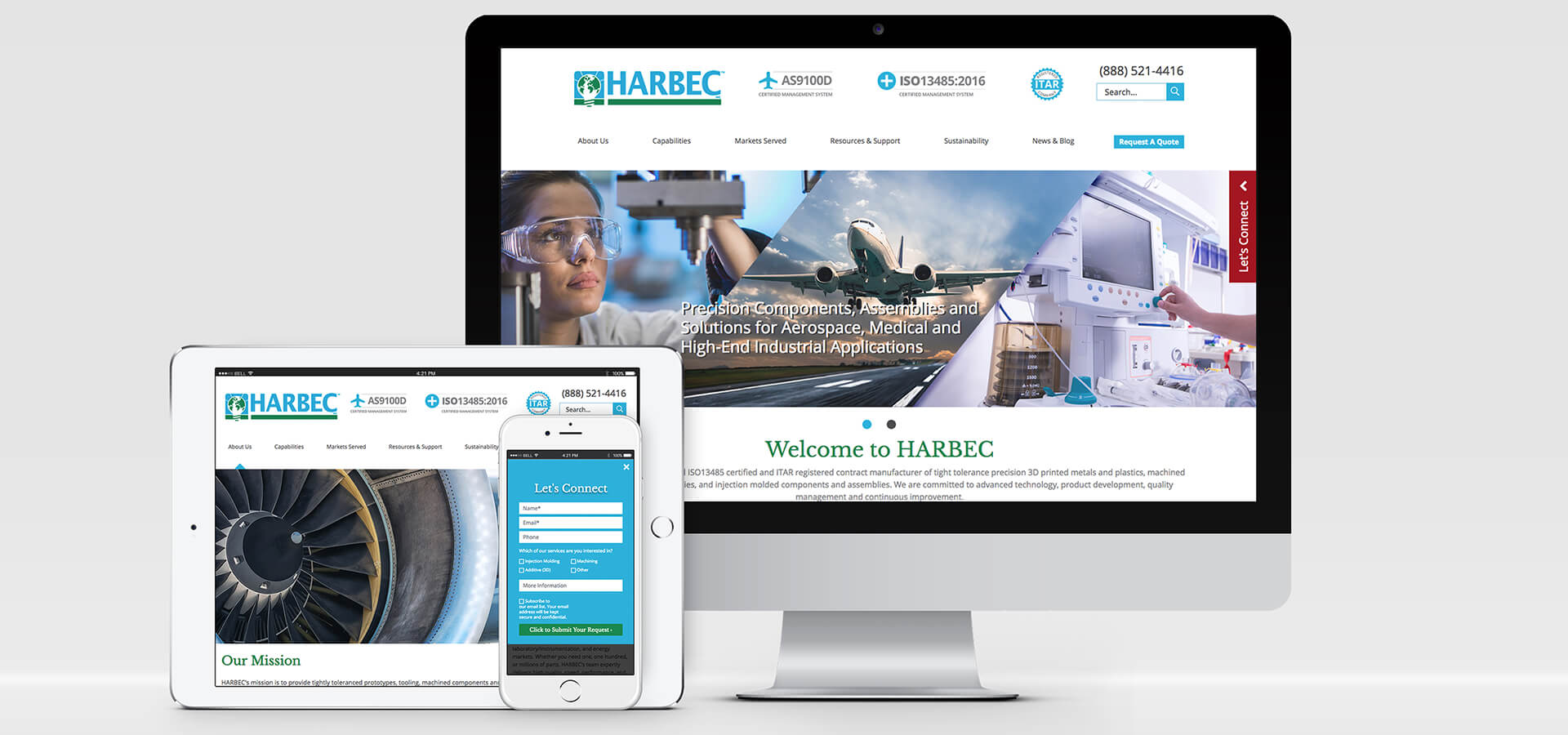 Harbec, Inc. new custom designed, responsive website
