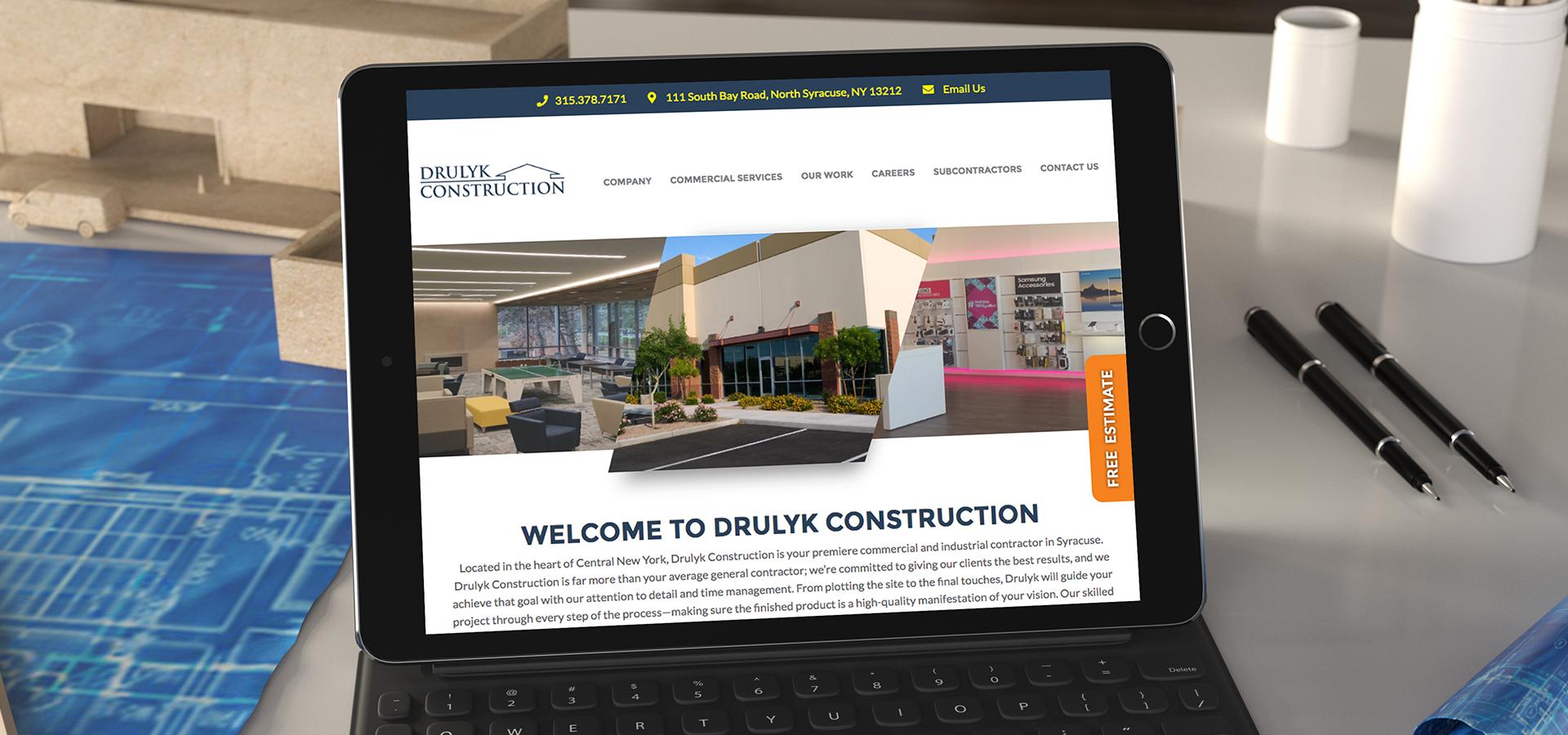 drulyk construction website on ipad