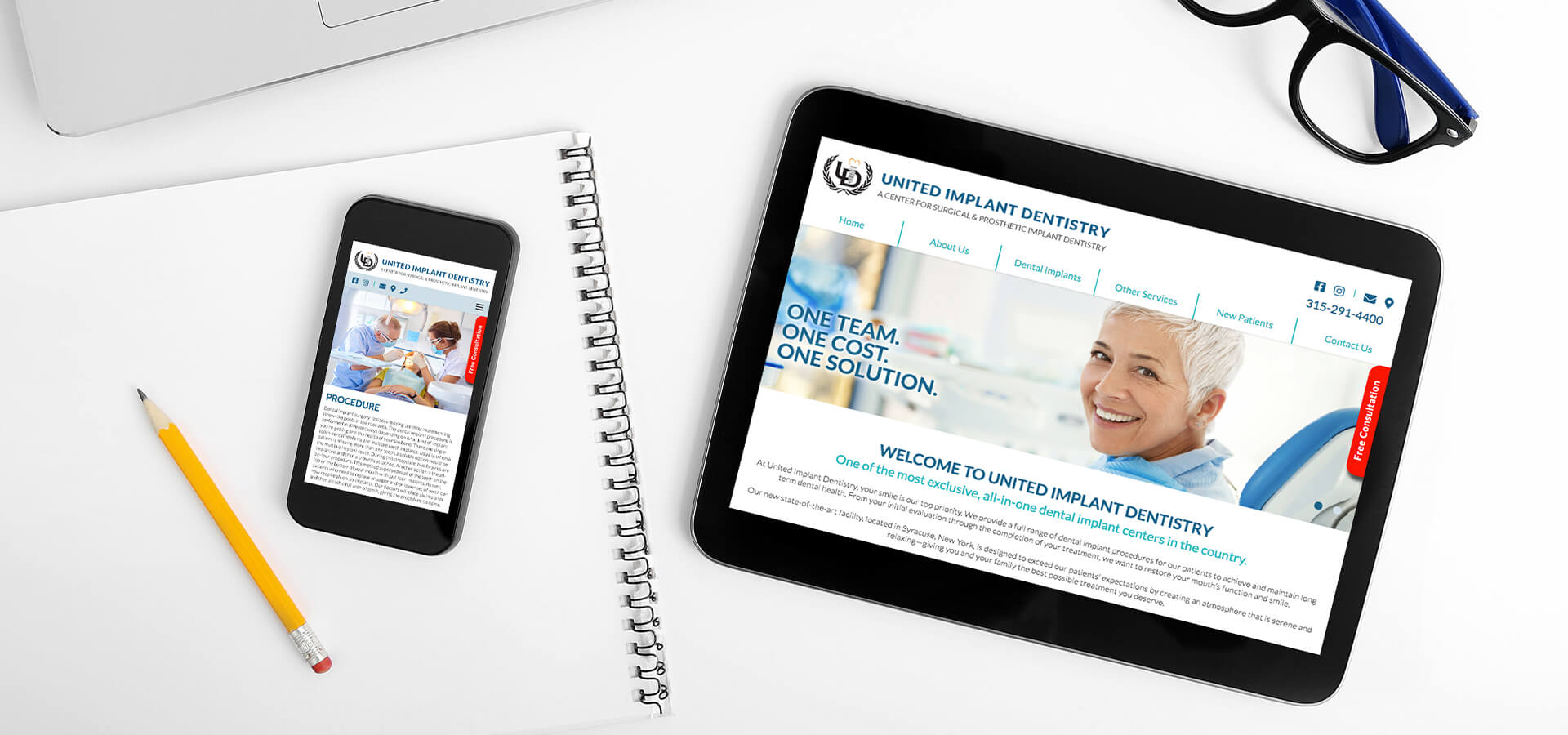 United Implant Dentistry website on tablet and mobile