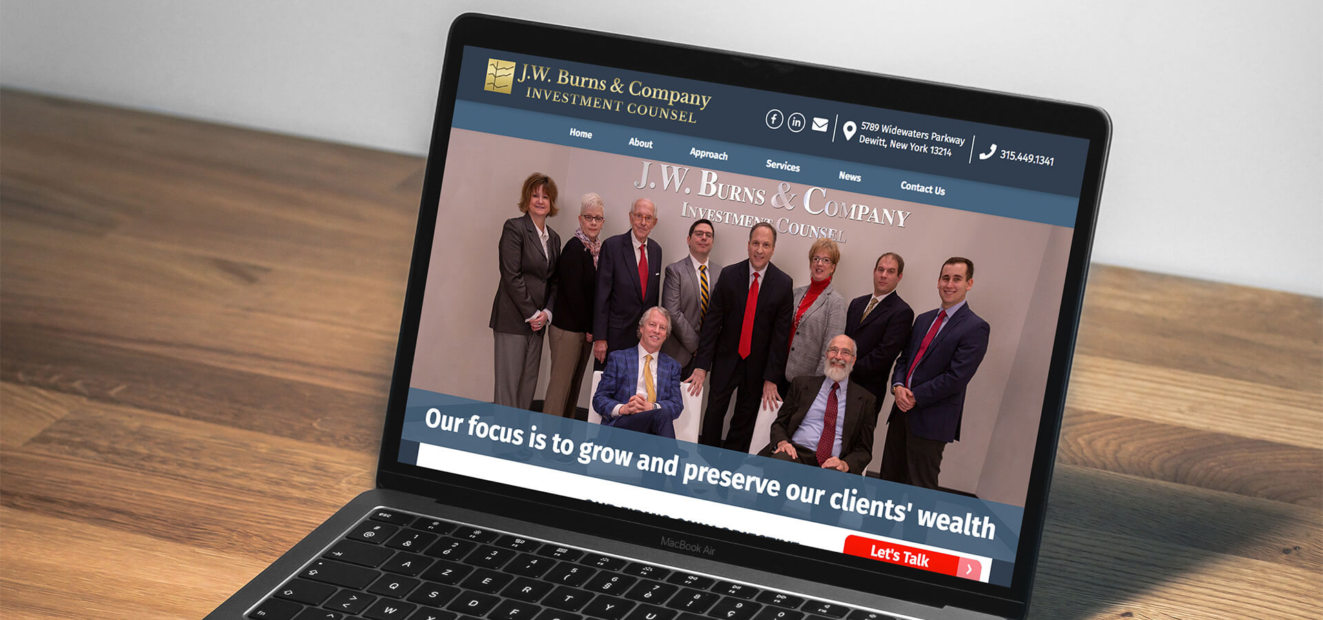 JW Burns New Custom Website on a Laptop