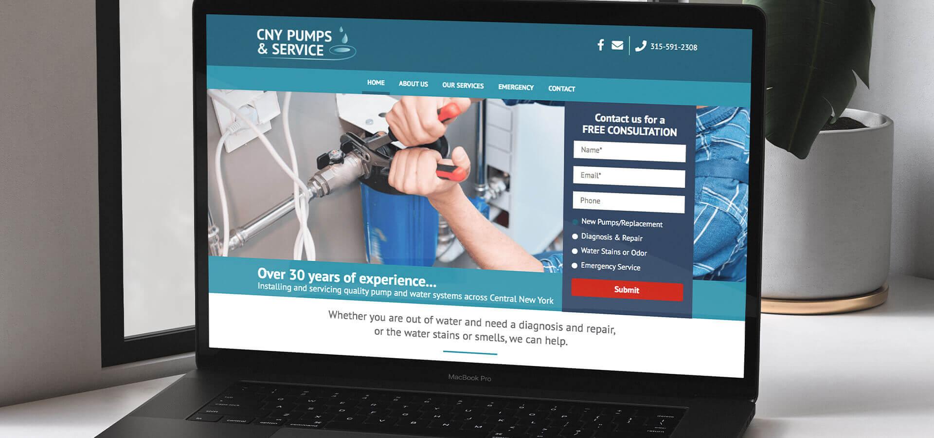 CNY Pumps website on laptop