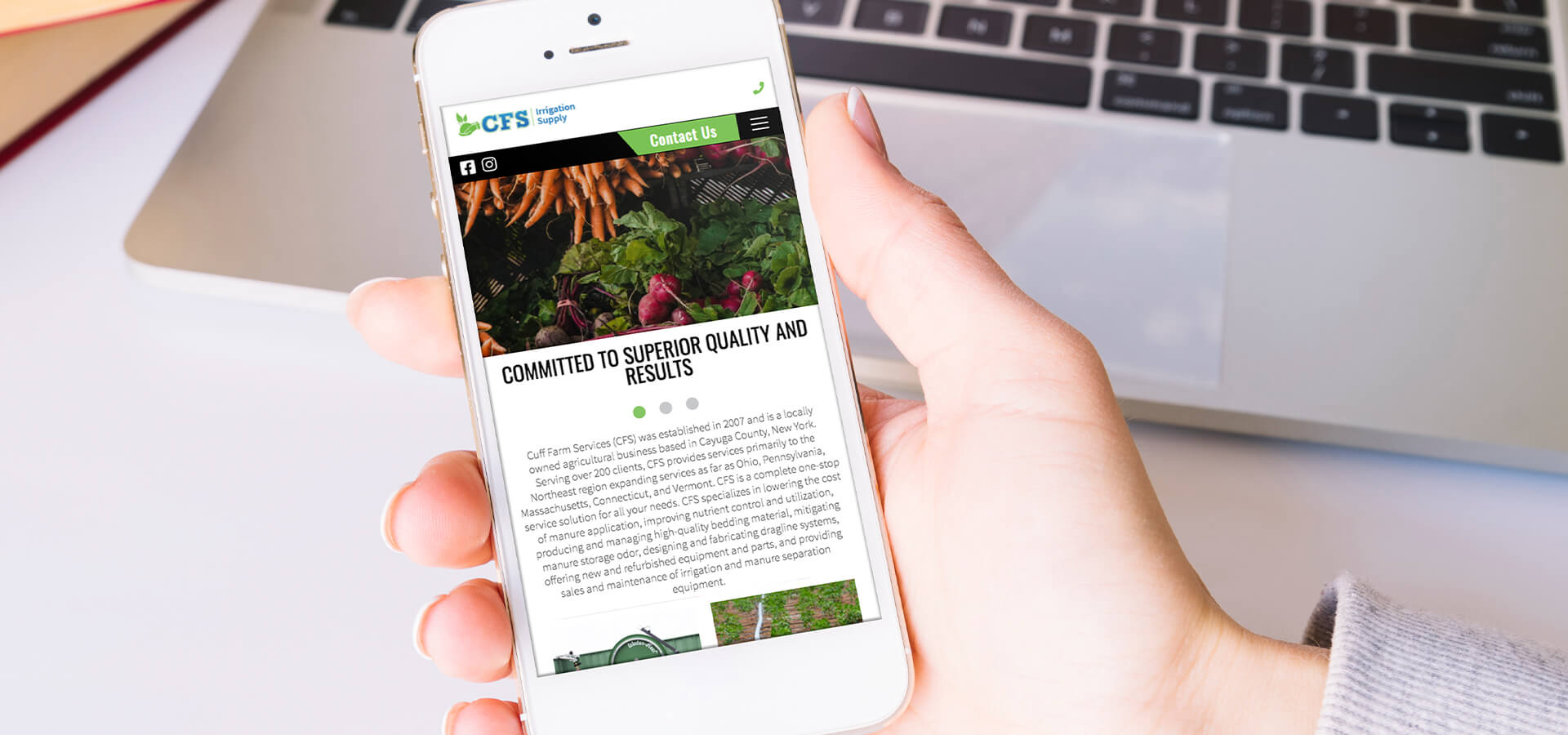 Cuff Irrigation Supply website on a mobile device