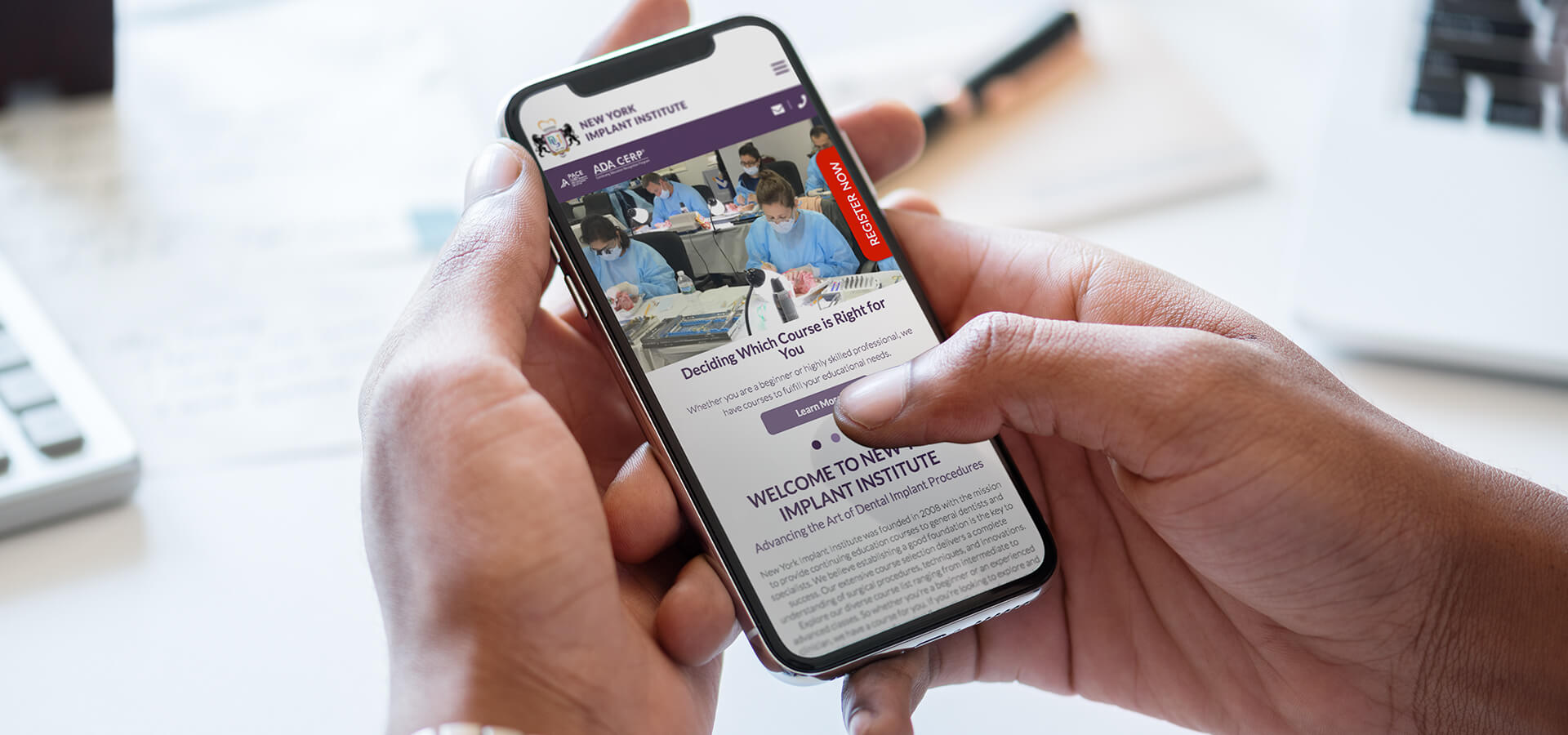 New York Implant Institute website on a mobile phone