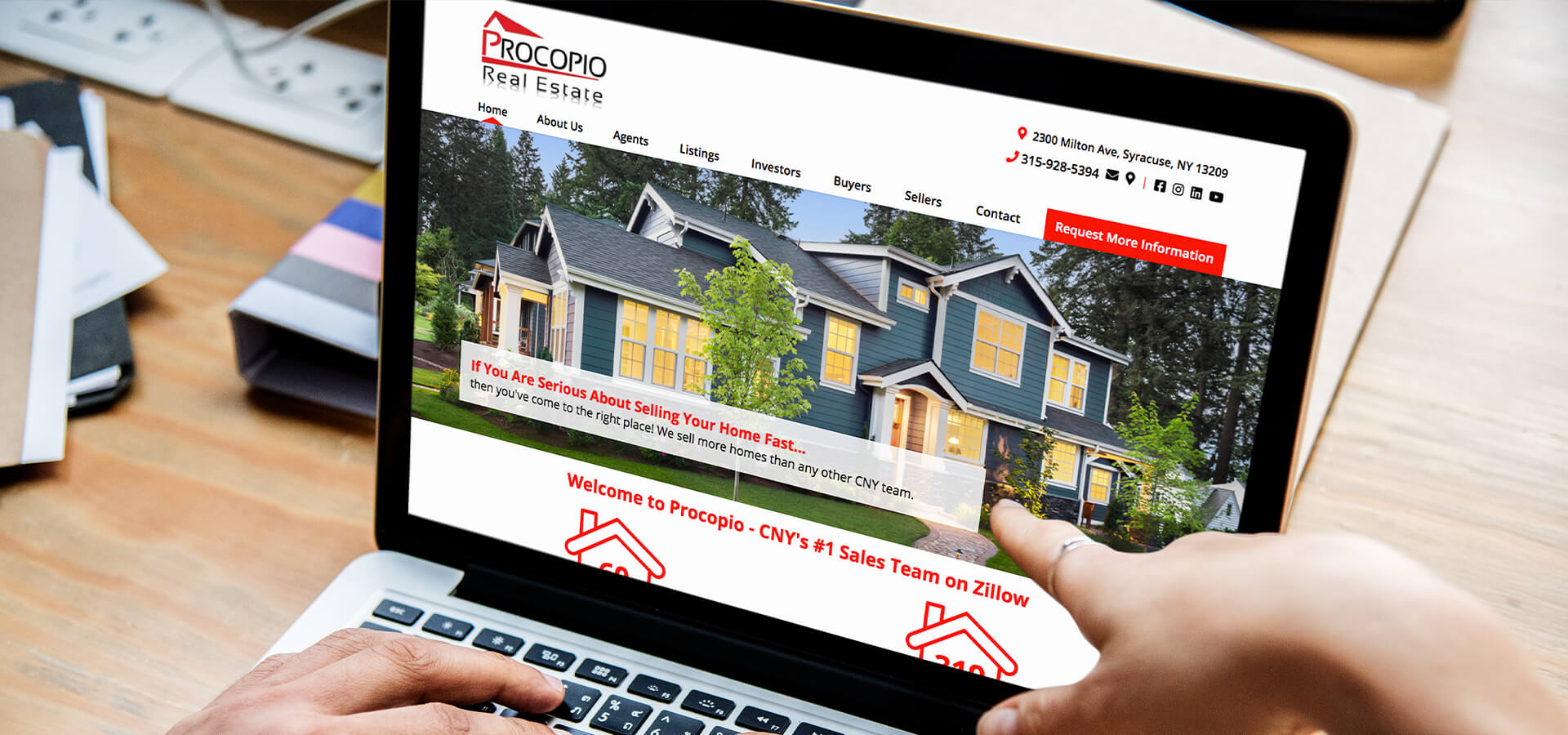 Procopio Real Estate website on a laptop
