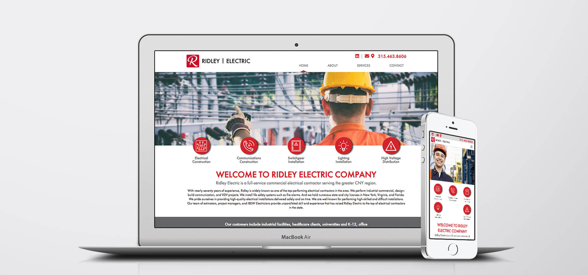 Ridley Electric website on laptop and iphone