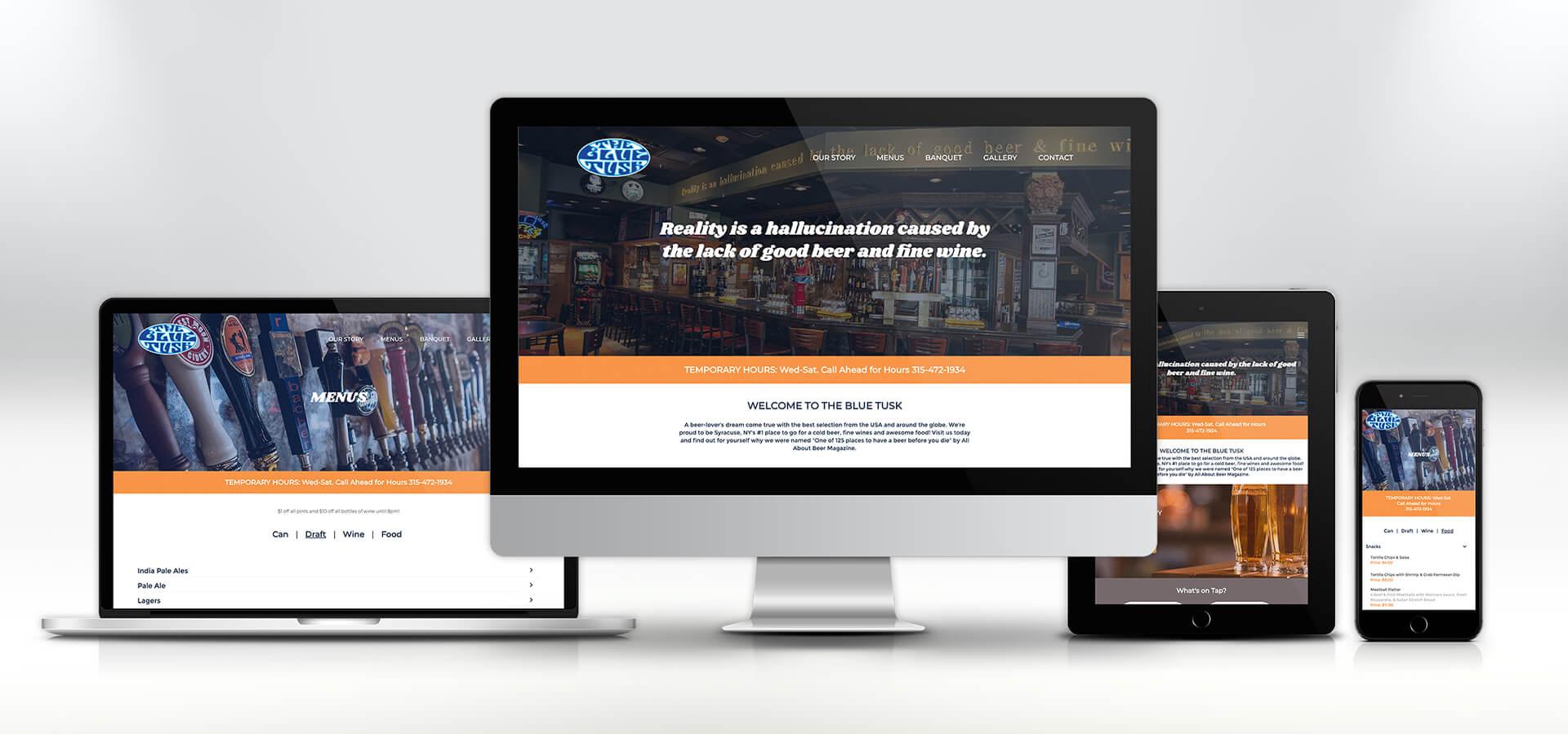 blue tusk website on responsive screens